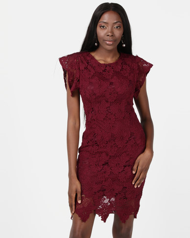 AX Paris Crochet Detail Midi Dress Plum