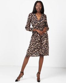 AX Paris V-Neck Wrap Dress Animal Print