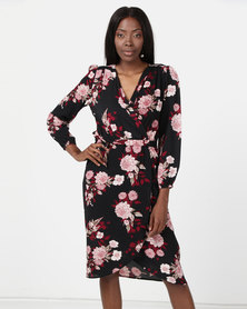 AX Paris Floral Long Sleeve Wrap Dress Multi
