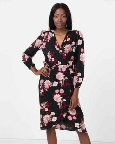 AX Paris Floral Long Sleeve Wrap Dress Multi