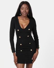 AX Paris Bodycon Button Front Dress Black