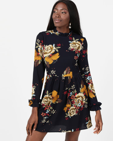 AX Paris Floral Long Sleeved Frill Detail Dress Navy