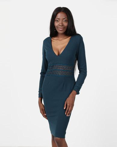 AX Paris Crochet Detail Bodycon Midi Dress Teal