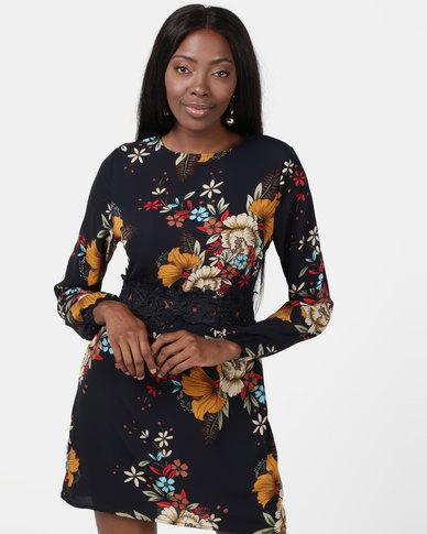 AX Paris Floral Mini Dress With Crochet Waist Navy