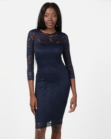AX Paris Crochet Bodycon Midi Dress Navy