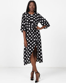 AX Paris Polka Dot Wrap Dress With Tie Front Black