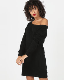 AX Paris Boatneck Longline Jumper Dress Black