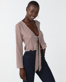 Goldie Kaia Brown Striped Top Brown