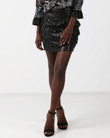 Goldie Pleat Me Faux Leather Mini Skirt Black