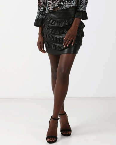Goldie Pleat Me Faux Leather Mini Skirt Black