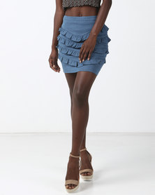 Goldie Pleat Me Denim Mini Skirt Blue