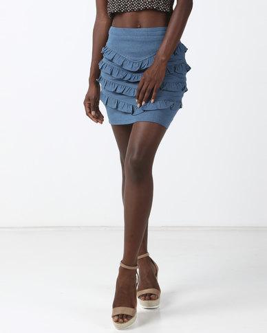 Goldie Pleat Me Denim Mini Skirt Blue