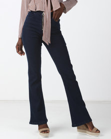 Goldie Rise High High Waisted Stretch Denim Bell Bottoms Blue