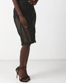 Goldie Tribe Black Fern Leaf Embroidery Over The Knee Skirt Multi