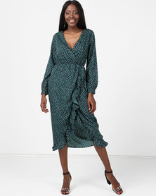 London Hub Fashion Polkadot Ruffle Wrap Midi Green