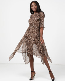 London Hub Fashion Chiffon Hankey Hem Midi Leopard Print