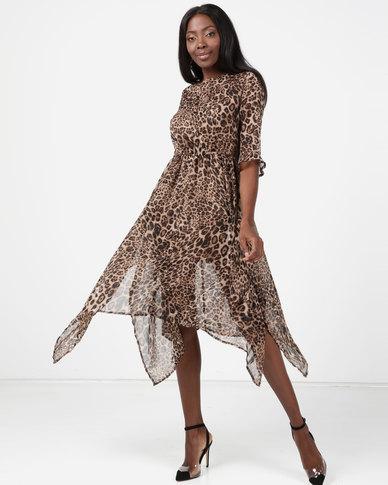 London Hub Fashion Chiffon Hankey Hem Midi Leopard Print