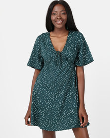 London Hub Fashion Polkadot Tie Front Mini Dress Green