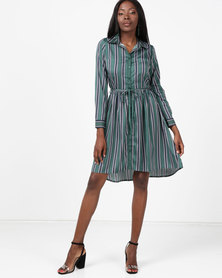 London Hub Fashion Stripe Tie Front Shirt Dress Green