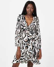 London Hub Fashion Flute Sleeve Wrap Dress Animal Print Multi