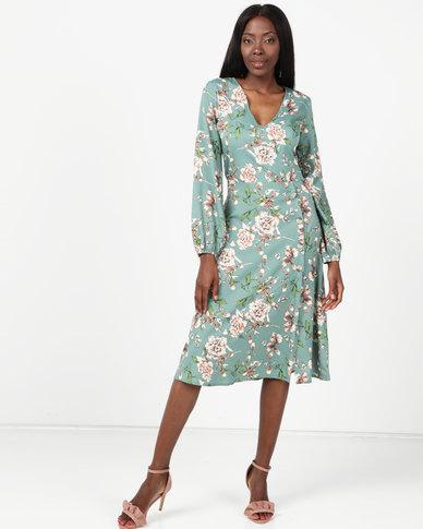 London Hub Fashion Floral Asymmetric Button Midi Dress Multi
