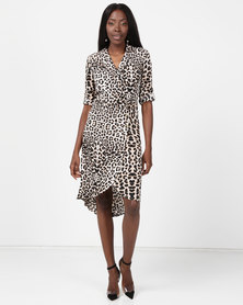 London Hub Fashion Side Button Midi Dress  Leopard Print