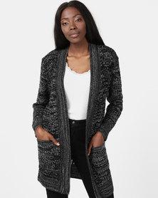 London Hub Fashion Knit Open Front Cardigan Charcoal