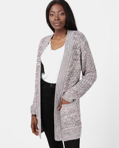 London Hub Fashion Knit Open Front Cardigan Grey/Pink