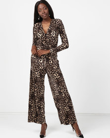 London Hub Fashion Pliss Wrap Front Jumpsuit Leopard Print