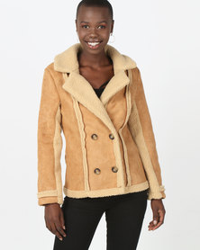 London Hub Fashion Shearling Button Front Mid Length Jacket Camel