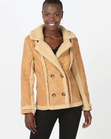 London Hub Fashion Shearling Button Front Mid Length Jacket Camel