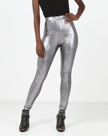 London Hub Fashion Sheer High Waist Leggings Metallic