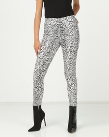 London Hub Fashion High Waisted Jeggings Leopard Print