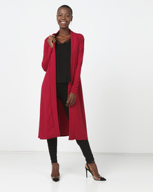 London Hub Fashion Edge To Edge Maxi Cardigan Wine Red
