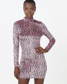 London Hub Fashion Velvet High Neck Bodycon Dress Leopard Print
