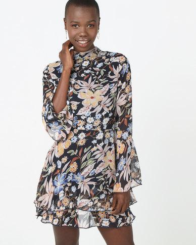London Hub Fashion Flare Sleeve Frill Hem Mini Dress Floral