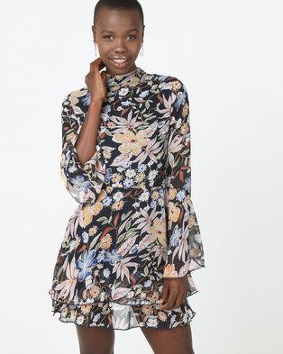 38dae719d71 London Hub Fashion Flare Sleeve Frill Hem Mini Dress Floral