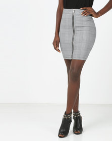 London Hub Fashion Checked Print Zip Front Mini Skirt Grey