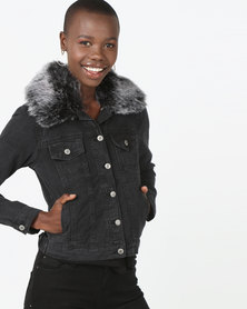 London Hub Fashion Faux Fur Collar Button Front Denim Jacket Grey