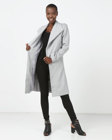 London Hub Fashion Grey Longline Duster Coat