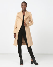 London Hub Fashion Longline Duster Coat Camel