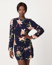 AX Paris Floral Print Crochet Waistband Dress Navy