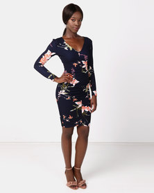 AX Paris Floral Sleeved Midi Dress Navy