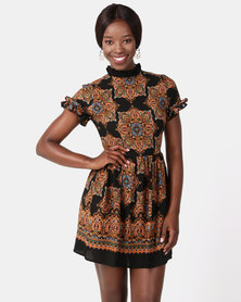 AX Paris Paisley Skater Dress With Frill Detail Multi