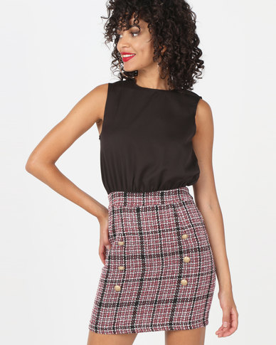 AX Paris 2 in 1 Dress With Mixed Tweed Detail Black/Red