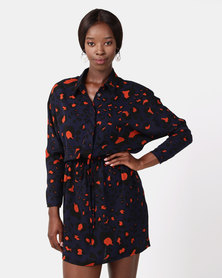 AX Paris Animal Print Tie Waist Shirt Dress Navy