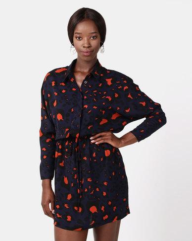 a12982d385a4 AX Paris Animal Print Tie Waist Shirt Dress Navy   Zando