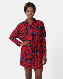 AX Paris Animal Print Tie Waist Shirt Dress Red