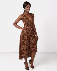 AX Paris Animal Print Midi Dress Camel
