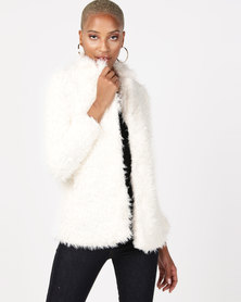 AX Paris Faux Fur Coat Cream